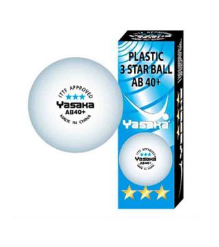 Yasaka AB 40+ *** bordtennisbolde. 3 stk. Hvid